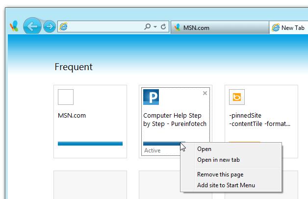 Add site to Start Menu - Windows 8