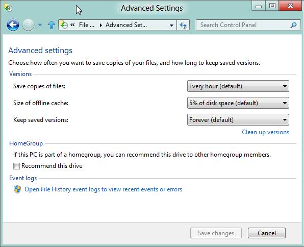 Advanced Settings File History Windows 8