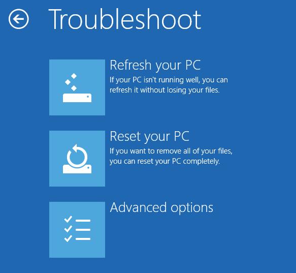 Troubleshoot menu - Windows 8
