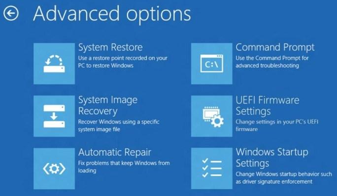 Advanced options Windows 8