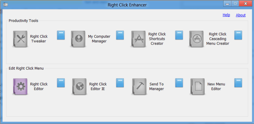 RC Enhancer user interface