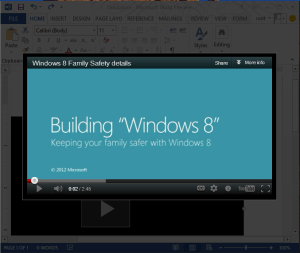 Embed video Word 2013