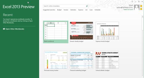 Excel Start screen