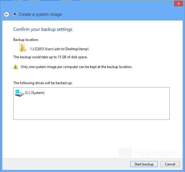 Windows backup widzard