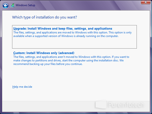 Windows Setup - Custom install