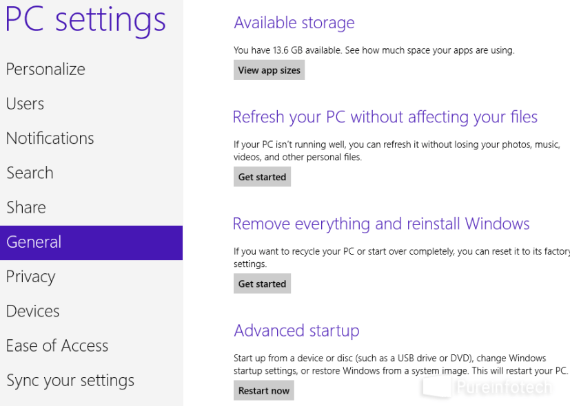 Win 8 Control Panel - PC settings