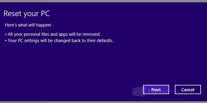 Win8 Reset notifacation