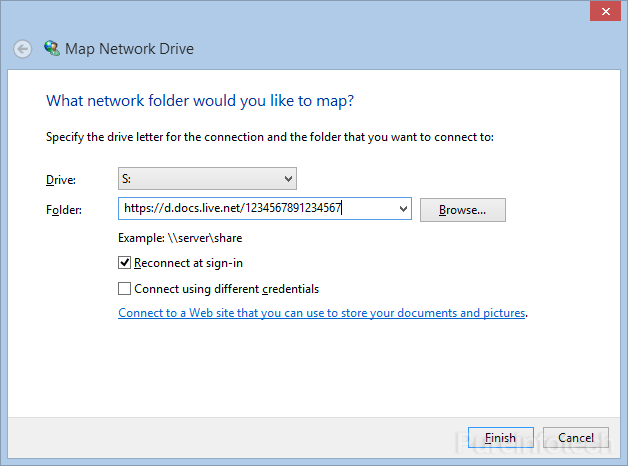 Windows 8 Map Network Drive wizard