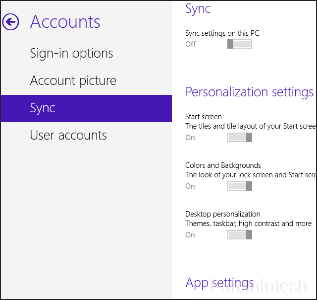 Sync - PC settings - Windows 8.1