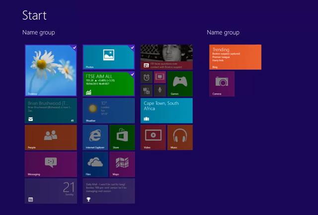 Windows 8.1 Blue new Customize button Start screen