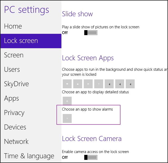 Alarm option Windows 8.1 build 9385 option