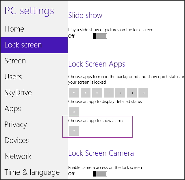 Alarm option Windows 8.1 build 9385 option