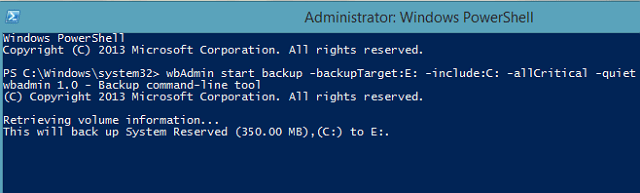 wbadmin-start-backup powershell