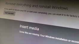 Insert Media message Windows 8.1 upgrade