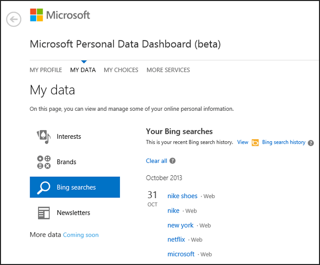Microsoft Personal Data Dashboard