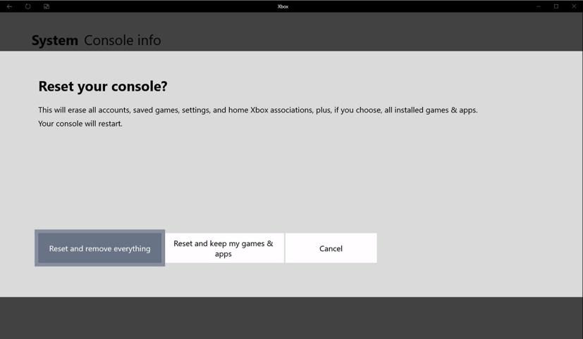 Xbox One reset option settings