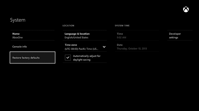Xbox One restore factory defaults
