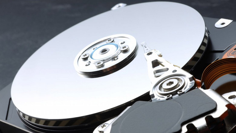 Hard Drive showing inside platters and arms
