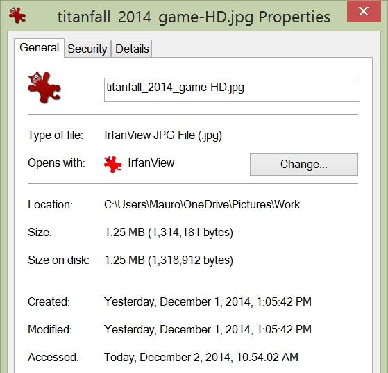 File properties in Windows