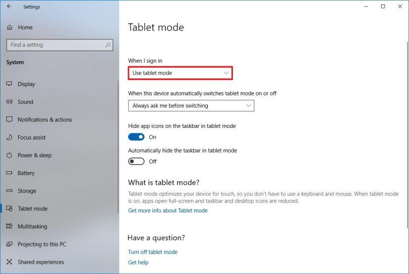 Tablet mode in Settings