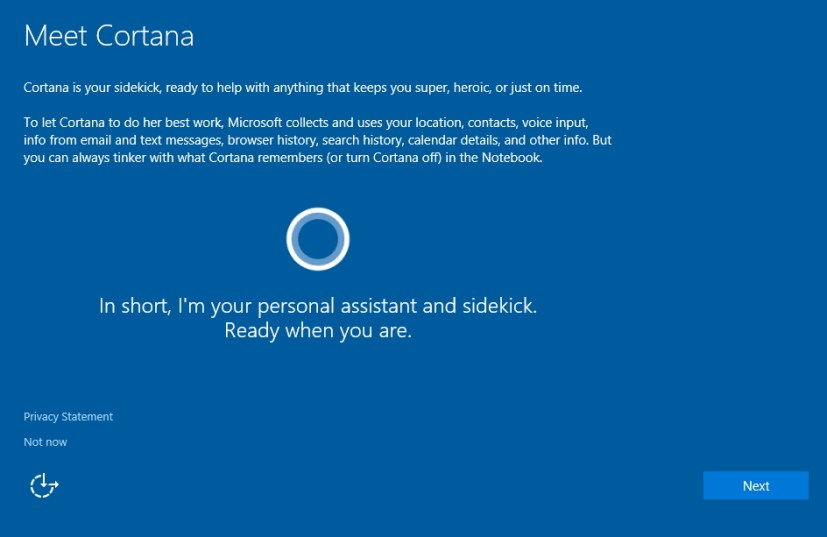 Setup Cortana during Windows 10 clean installation