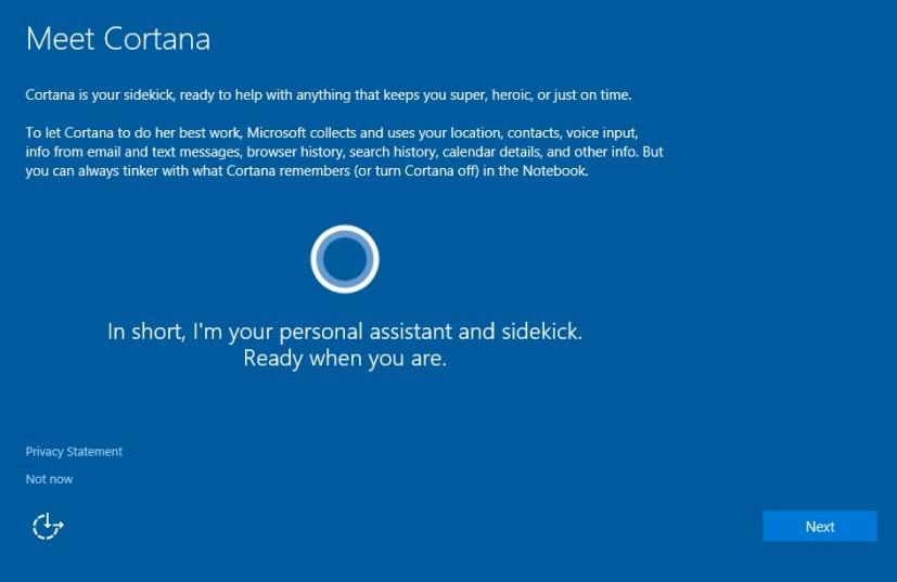 Setup Cortana during Windows 10 clean installation