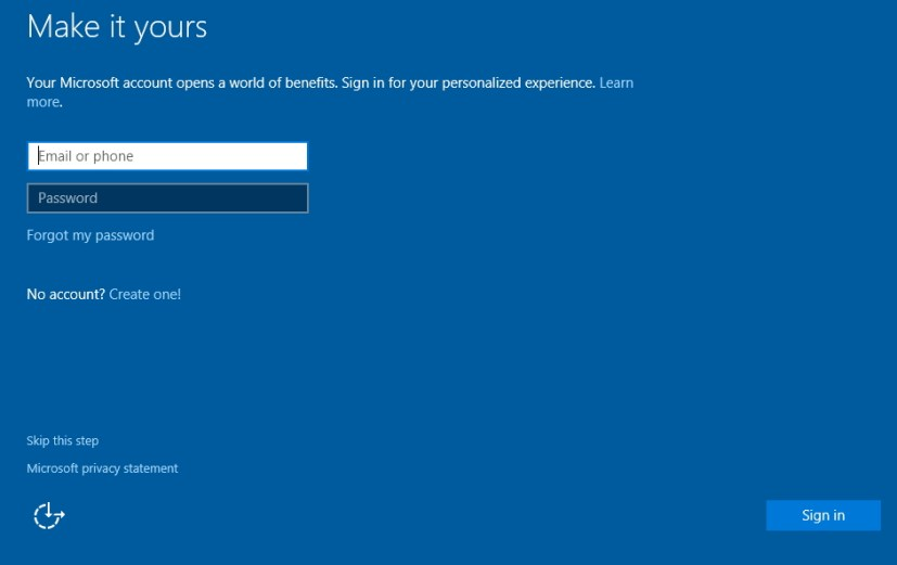 Microsoft Account setup during Windows 10 clean installation
