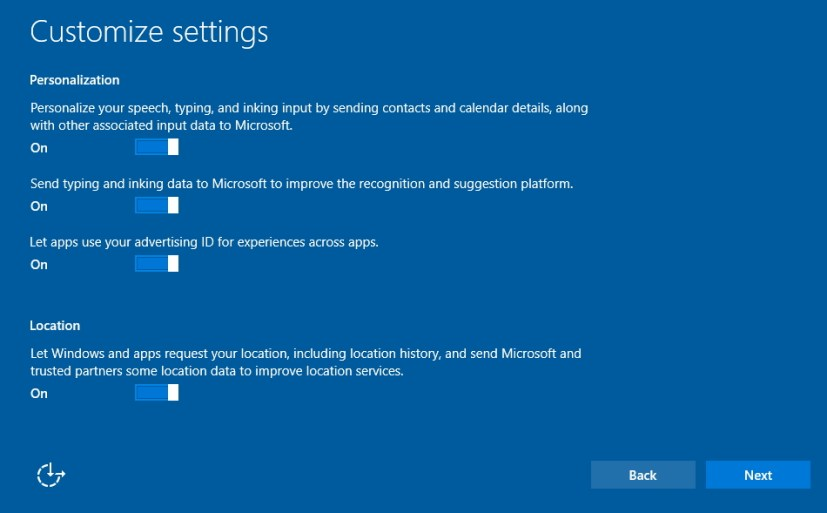 Customize settings during Windows 10 clean install