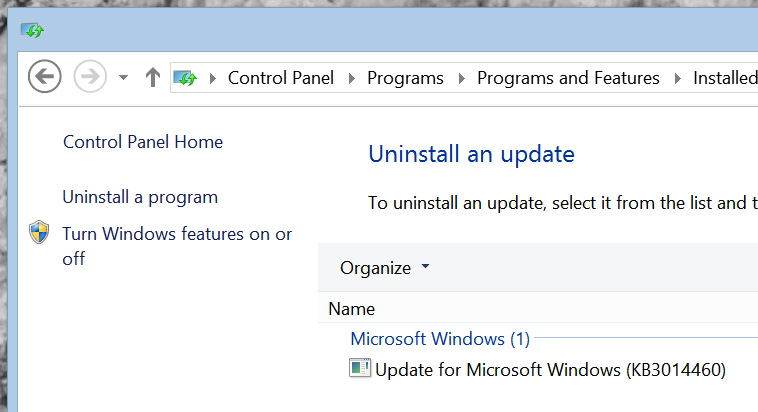 KB3014460 update in Windows 8.1