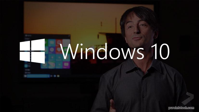 Windows 10 desktop and Joe Belfiore