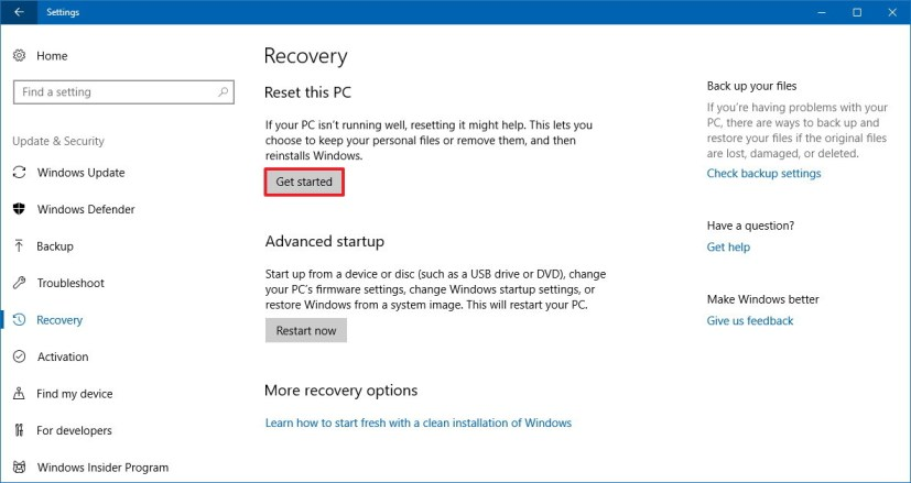 Recovery settings on Windows 10