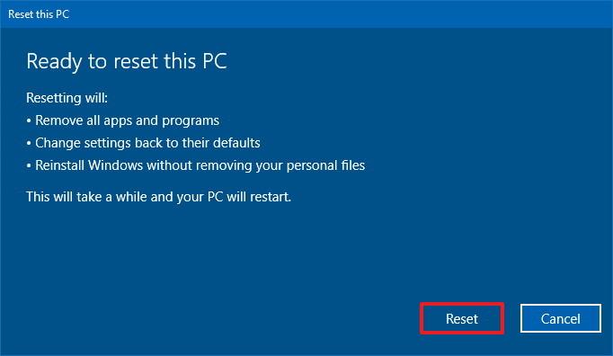 Windows 10 Reset button
