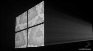 Windows 10 logo made out of light on tech recap