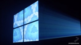 Windows 10 logo made out of light