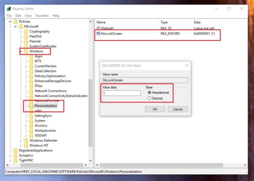 Disable Lock screen Windows 10 registry