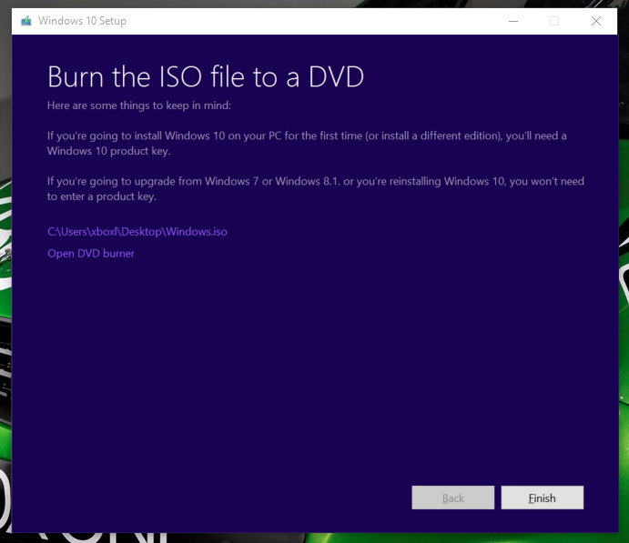 Burn Windows 10 ISO to disc