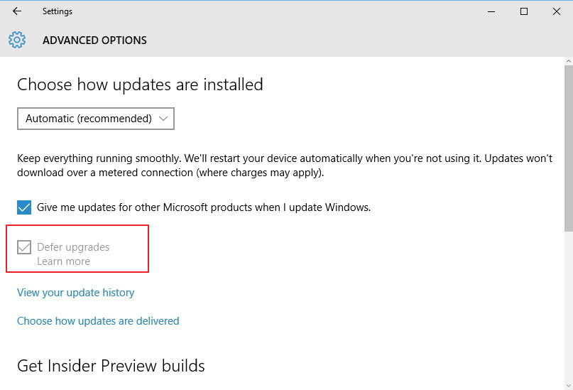 Current Branch for Business - Defer upgrades option for Windows 10