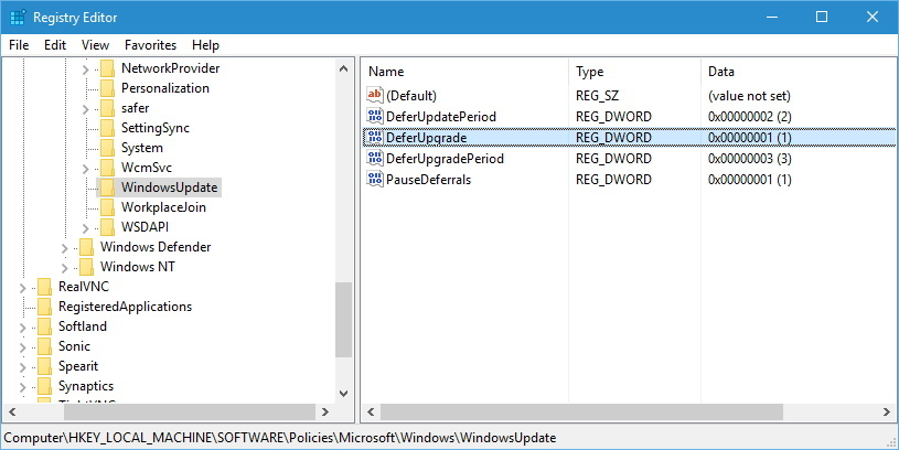 Regedit Defer Upgrades and Updates in Windows 10
