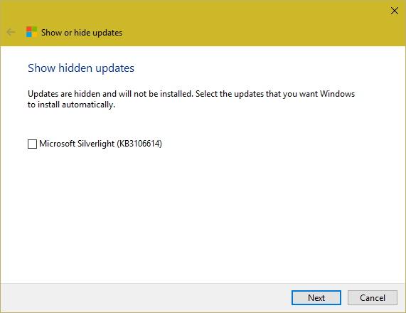 Show hidden Windows 10 update