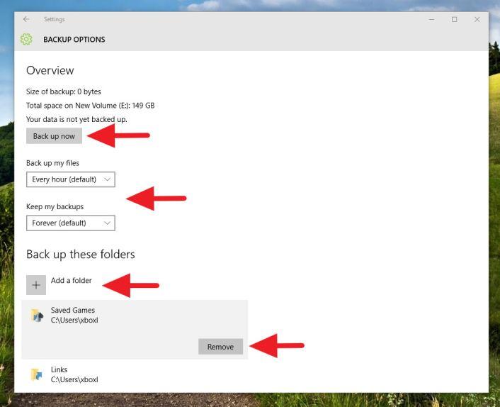 File History - Backup options