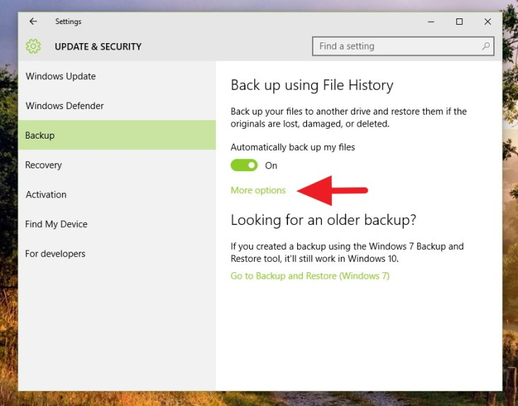 how to delete windows 10 file history
