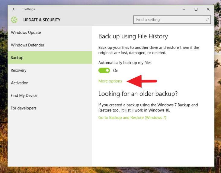 File History - Windows 10 options