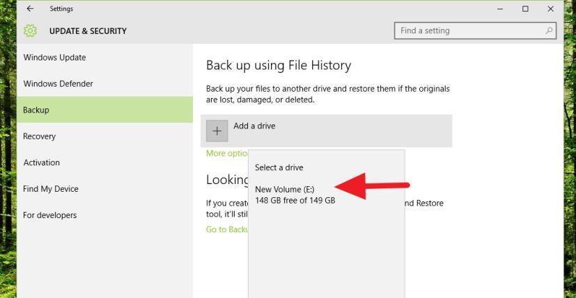 File History - select drive