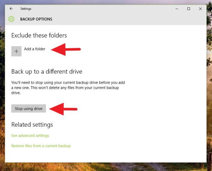 File History - Backup options (two)
