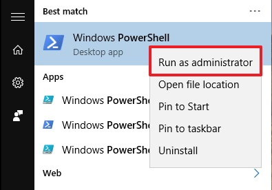 Open PowerShell as administrator