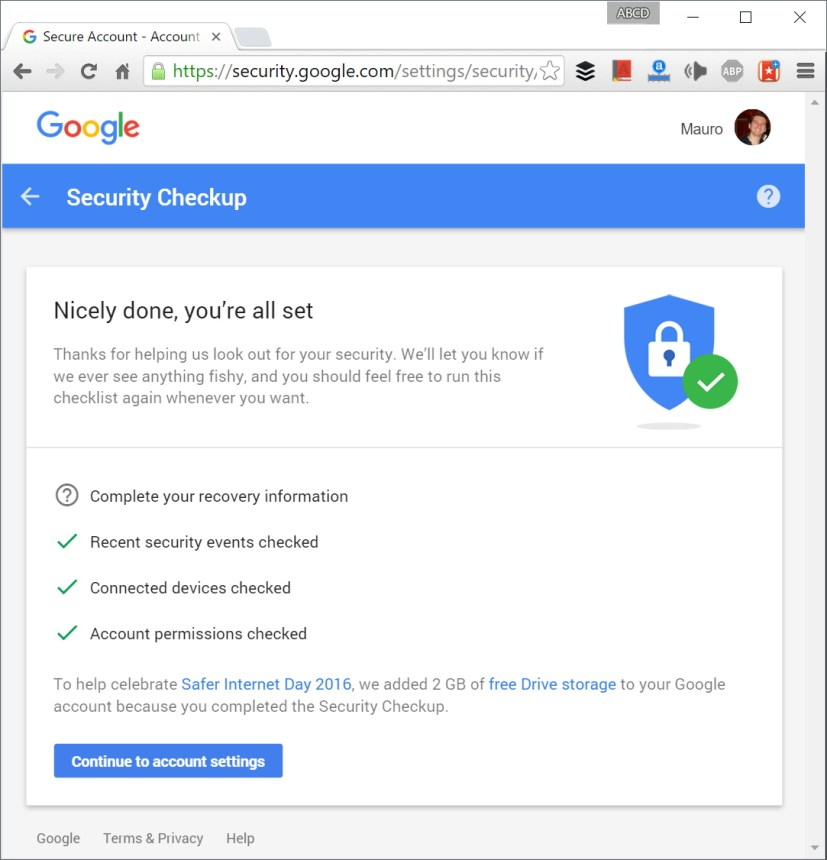 Free 2GB of Google Drive via Security Checkup on  Safer Internet Day 2016