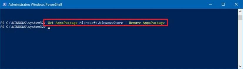 Uninstall the Microsoft Store using PowerShell