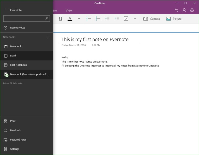 Add Evernote notebooks in OneNote