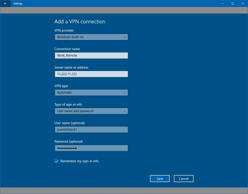 Windows 10 VPN connection settings