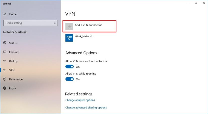 Add a VPN connection on Windows 10